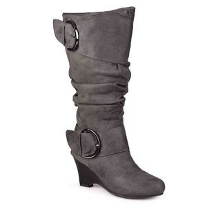 Journee Gray Suede Side Buckle Slouch Wedge Boots